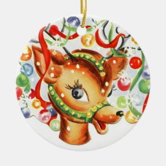 Vintage Reindeer Ceramic Christmas Ornament