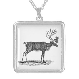 Vintage Reindeer Illustration -1800's Christmas Silver Plated Necklace