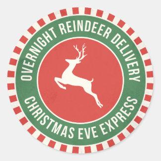 Vintage reindeer North Pole delivery gift sticker