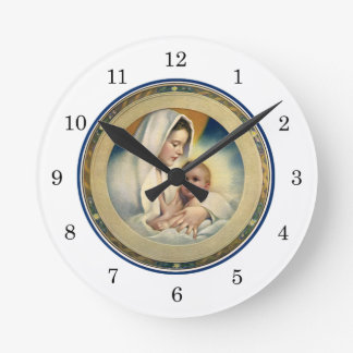 Vintage Relgious Christmas, Madonna and Child Clock