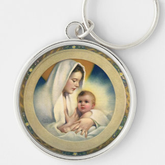 Vintage Relgious Christmas, Madonna and Child Silver-Colored Round Key Ring