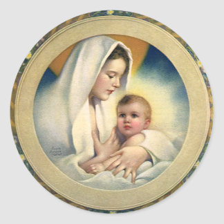 Vintage Relgious Christmas Madonna and Child Round Stickers