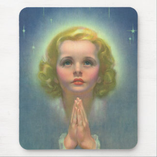Vintage Religion, Angelic Girl with Halo Praying Mouse Pad