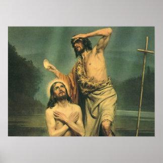 Vintage Religion, Baptism of Jesus Christ Poster