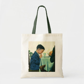 Vintage Religion, Boy Saying Grace at Thanksgiving Budget Tote Bag