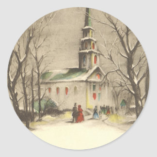 Vintage Religion, Church in Winter Snowscape Classic Round Sticker