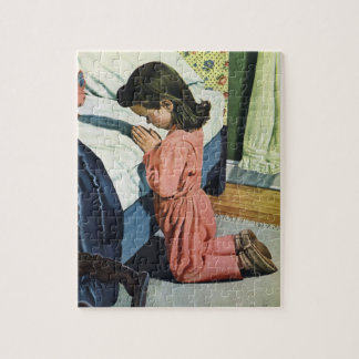 Vintage Religion, Girl Praying at Bedtime Jigsaw Puzzle