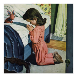 Vintage Religion, Girl Praying at Bedtime Poster