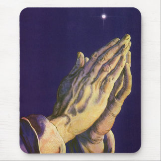 Vintage Religion, Hands Praying Towards Heaven Mouse Pad