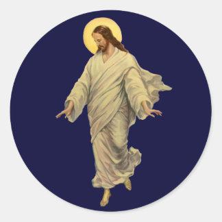 Vintage Religion, Jesus Christ in Robe Portrait Classic Round Sticker