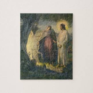 Vintage Religion, Jesus Christ Risen by Tomb Jigsaw Puzzle