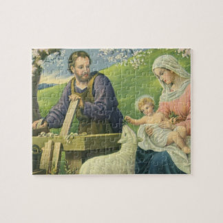 Vintage Religion, Joseph with Mary and Baby Jesus Jigsaw Puzzle