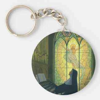Vintage Religion, Nun Playing an Organ in Church Key Ring