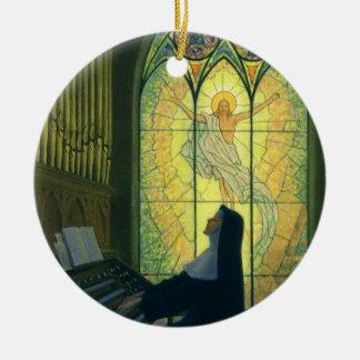 Vintage Religion, Nun Playing an Organ in Church Round Ceramic Decoration
