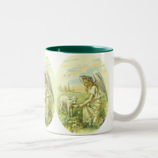 Vintage Religion, Victorian Easter Angel with Lamb Two-Tone Coffee Mug