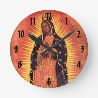 Vintage Religion, Virgin Mary, Lady of Guadalupe Round Clock