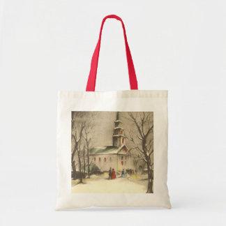 Vintage Religious Christmas Church Snow Winter Tote Bags