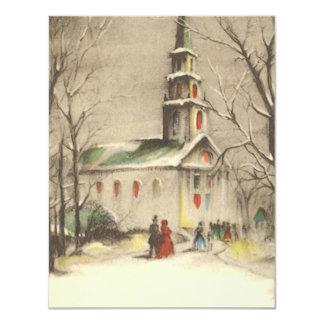 "Vintage Religious Christmas, Church, Snow, Winter 4.25"" X 5.5"" Invitation Card"