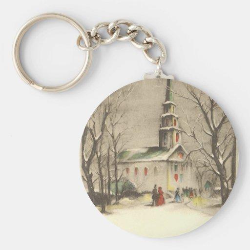 Vintage Religious Christmas, Church, Snow, Winter Key Chain