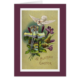 Vintage Religious Easter Cross Greeting Card