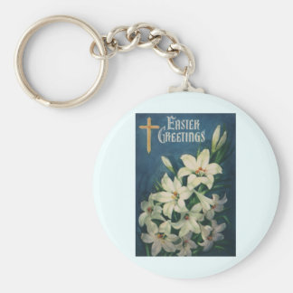 Vintage Religious Easter Greetings, Lily Flowers Basic Round Button Key Ring