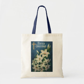 Vintage Religious Easter Greetings, Lily Flowers Budget Tote Bag