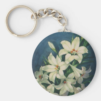 Vintage Religious Easter Greetings with Lilies Key Chain