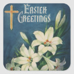 Vintage Religious Easter Greetings with Lilies Square Sticker
