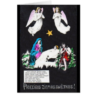 Vintage Religious Latvian Christmas Greeting Card