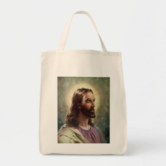 Vintage Religious People, Portrait of Jesus Christ Grocery Tote Bag