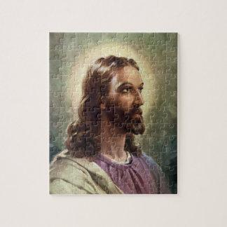 Vintage Religious Portrait, Jesus Christ with Halo Puzzle