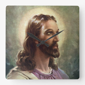 Vintage Religious Portrait, Jesus Christ with Halo Square Wall Clock