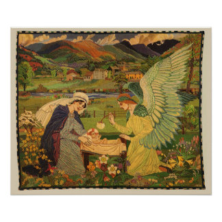 Vintage Religious Tapestry with Baby Jesus Christ Poster