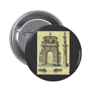 Vintage Renaissance Architecture Garden Gate Arch Button