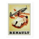 Vintage Renault Ad (aeroplane) Postcard