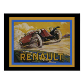 Vintage Renault Ad Poster 12 x 16