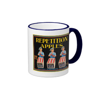 Vintage Repetition Apples Fruit Crate Label Ringer Mug