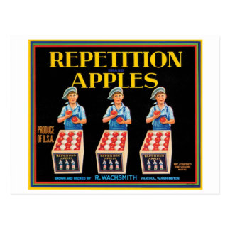 Vintage Repetition Apples Fruit Crate Label Postcard