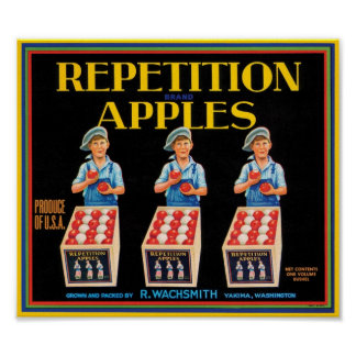 Vintage Repetition Apples Fruit Crate Label Poster