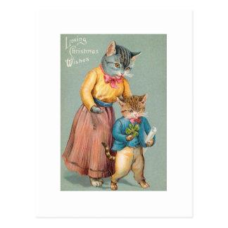 Vintage Reproduction Christmas Art Cats Postcard