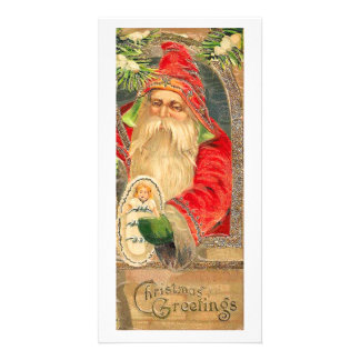 Vintage Reproduction Christmas Art Personalised Photo Card