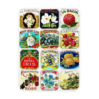 """Vintage Reproduction Floral Labels 3""""x4"""" Magnet"""