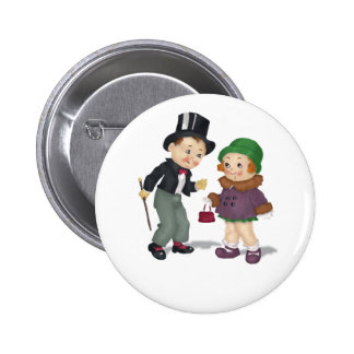 Vintage Reproduction Girl and Boy Button