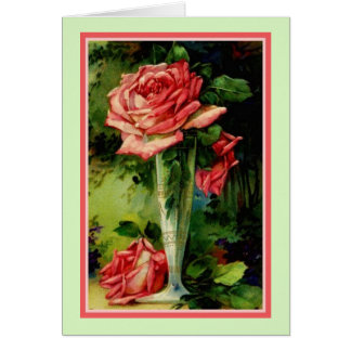 Vintage Reproduction Roses On Display Card
