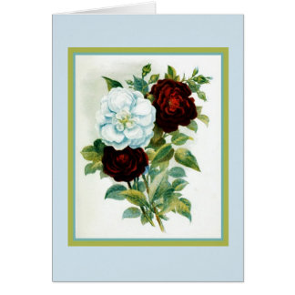 Vintage Reproduction Watercolor Roses Card