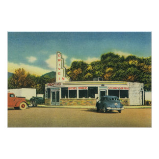 Vintage Restaurant, 50s Drive In Diner and Cars Poster