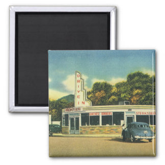 Vintage Restaurant, 50s Drive In Diner and Cars Square Magnet