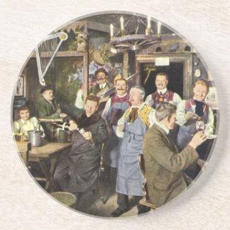 Vintage Restaurant Bar People Celebrating Party Coaster