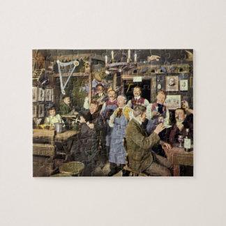 Vintage Restaurant Bar People Celebrating Party Jigsaw Puzzle