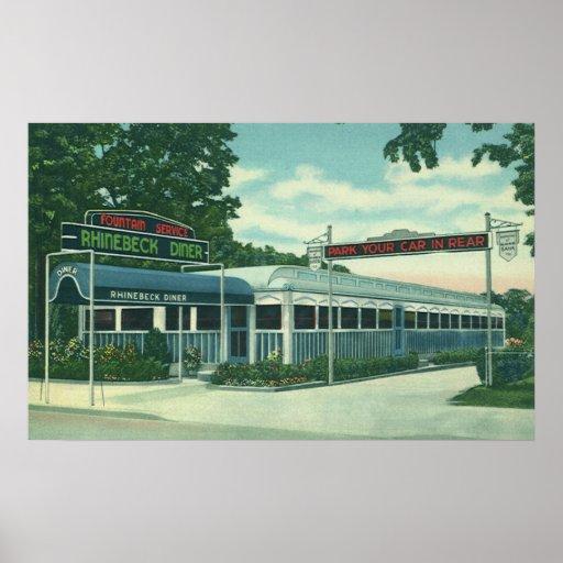 Vintage Restaurant, Retro Rhinebeck Roadside Diner Poster
